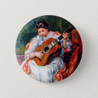 Woman Playing The Guitar by Pierre Renoir Pinback Button