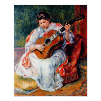 Woman Playing The Guitar by Pierre Renoir Poster