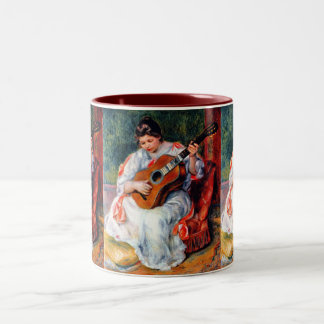 Woman Playing The Guitar by Pierre Renoir Two-Tone Coffee Mug