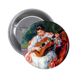 Woman Playing The Guitar by Renoir, Vintage Art Buttons