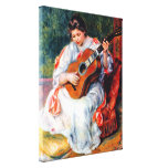 Woman Playing The Guitar by Renoir, Vintage Art Canvas Prints