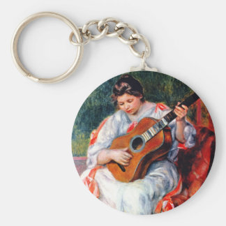 Woman Playing The Guitar by Renoir, Vintage Art Key Chains