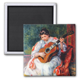 Woman Playing The Guitar by Renoir, Vintage Art Refrigerator Magnet
