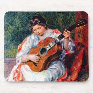 Woman Playing The Guitar by Renoir Vintage Art Mouse Pads