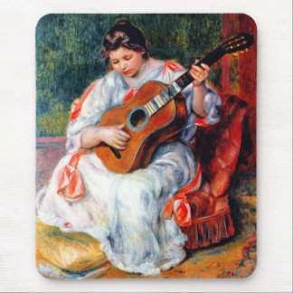 Woman Playing The Guitar by Renoir Vintage Art Mouse Pad