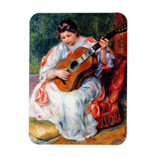 Woman Playing The Guitar by Renoir, Vintage Art Flexible Magnets