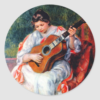 Woman Playing The Guitar by Renoir, Vintage Art Round Sticker