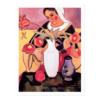 Woman Playing the Lute by August Macke Postcard