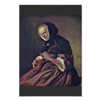 Woman Playing The Sistrum.,  By Jan Steen  (Best Q Print