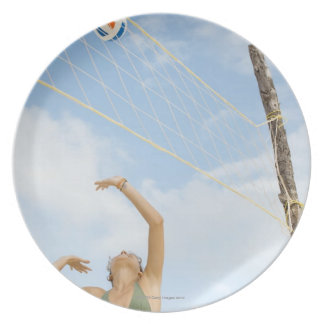 Woman playing volleyball outdoors plate