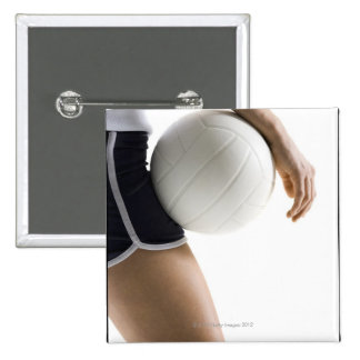 woman playing volleyball pinback button