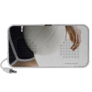 woman playing volleyball portable speaker