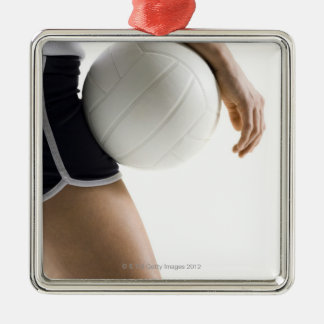 woman playing volleyball square metal christmas ornament