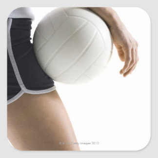woman playing volleyball square sticker