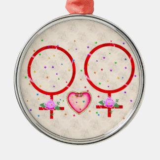 Woman Plus Woman Metal Ornament