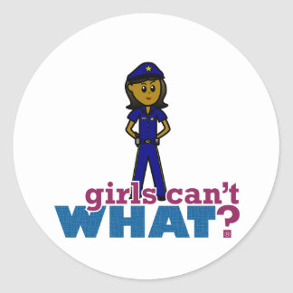 Woman Police Officer Classic Round Sticker