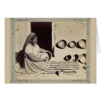 Woman Polishing Pottery - 1879 Card