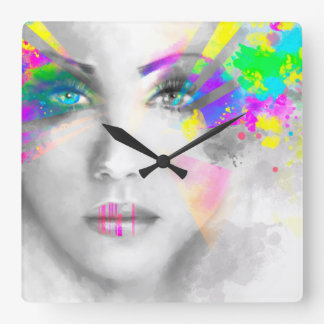 Woman portrait abstract illustration square wall clock