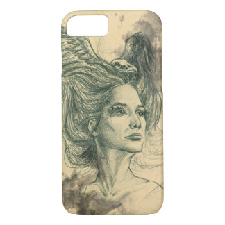 Woman portrait bird skull and wings iPhone 7 case