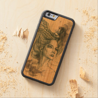 Woman portrait bird skull and wings Phone woodcase Carved Cherry iPhone 6 Bumper Case