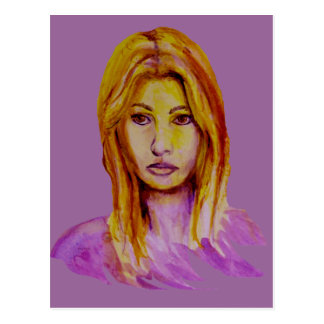 Woman Portrait Rough Look Hand Painted Post Cards