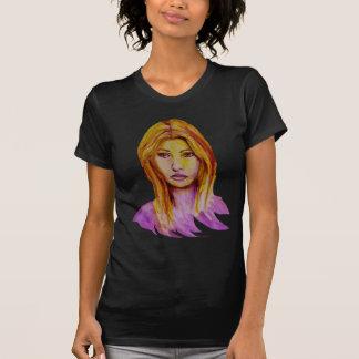 Woman Portrait Rough Look Hand Painted T-Shirt