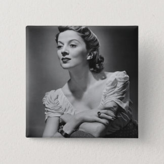 Woman Posing in Studio Button