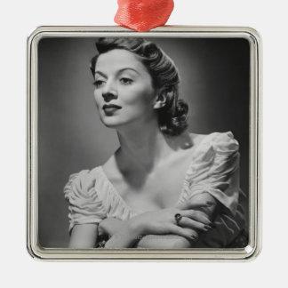 Woman Posing in Studio Metal Ornament