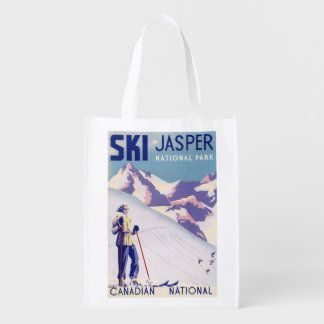 Woman Posing Open Slopes Poster Reusable Grocery Bags