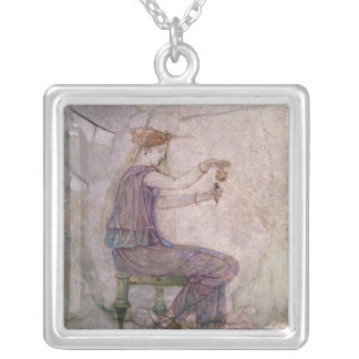 Woman Pouring Perfume into a Phial Silver Plated Necklace
