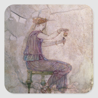 Woman Pouring Perfume into a Phial Square Stickers