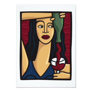 Woman Pouring Red Wine Invitation