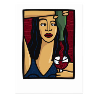 Woman Pouring Red Wine Postcards