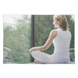 Woman Practicing Yoga Cloth Placemat