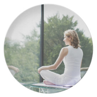 Woman Practicing Yoga Dinner Plates