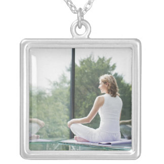 Woman Practicing Yoga Silver Plated Necklace