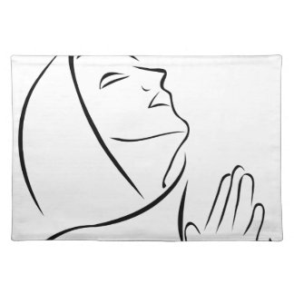 Woman praying looking up at the sky cloth placemat