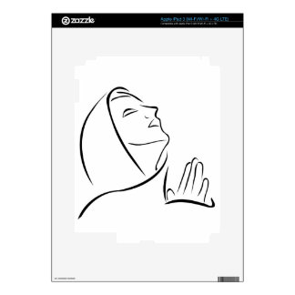 Woman praying looking up at the sky decal for iPad 3