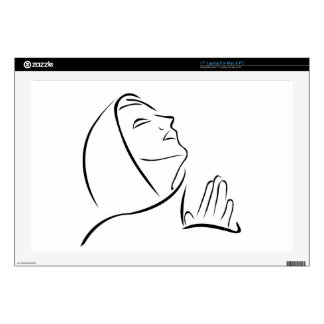 Woman praying looking up at the sky laptop decal