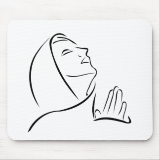Woman praying looking up at the sky mouse pad