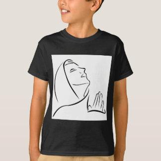 Woman praying looking up at the sky T-Shirt