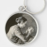 Woman Praying, Vincent van Gogh Silver-Colored Round Keychain