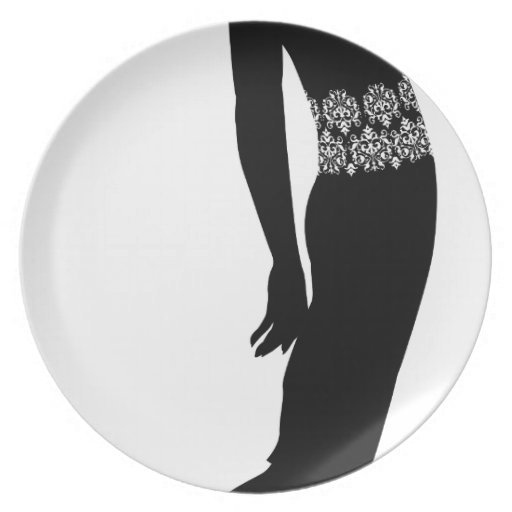 Woman profile silhouette party plates