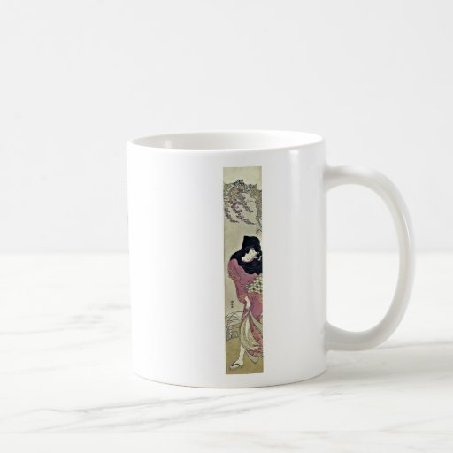 Woman protecting against the wind byTorii,Kiyonaga Classic White Coffee Mug