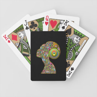 Woman Psichedelic Design Portrait Playing Cards