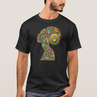 Woman Psychedelic Design Portrait T-Shirt