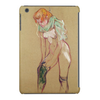 Woman Pulling Up her Stocking, 1894 (oil on card) iPad Mini Cases