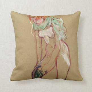 Woman Pulling Up her Stocking, 1894 (oil on card) Pillow
