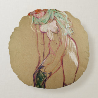 Woman Pulling Up her Stocking, 1894 (oil on card) Round Pillow