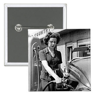 Woman Pumping Gas Vintage Louisville Kentucky 2 Inch Square Button